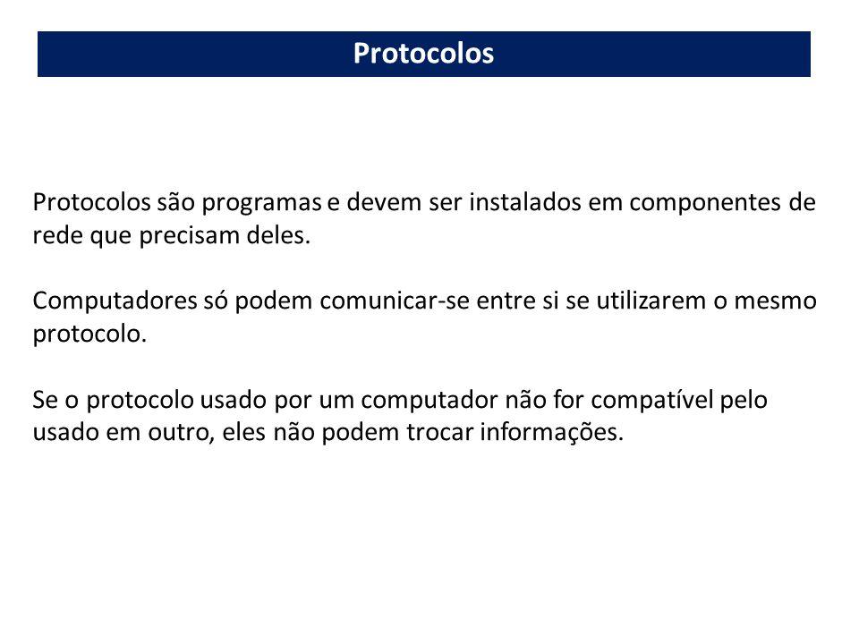 Protocolos são programas e devem ser instalados em componentes de rede que precisam deles. Computadores só podem comunicar-se entre si se utilizarem o