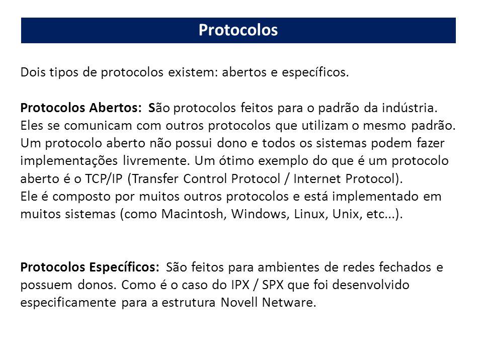 Dois tipos de protocolos existem: abertos e específicos. Protocolos Abertos: São protocolos feitos para o padrão da indústria. Eles se comunicam com o