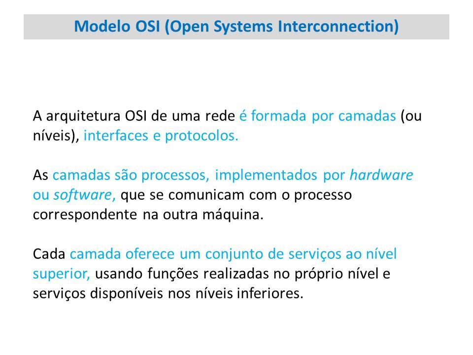 Modelo OSI (Open Systems Interconnection) A arquitetura OSI de uma rede é formada por camadas (ou níveis), interfaces e protocolos. As camadas são pro