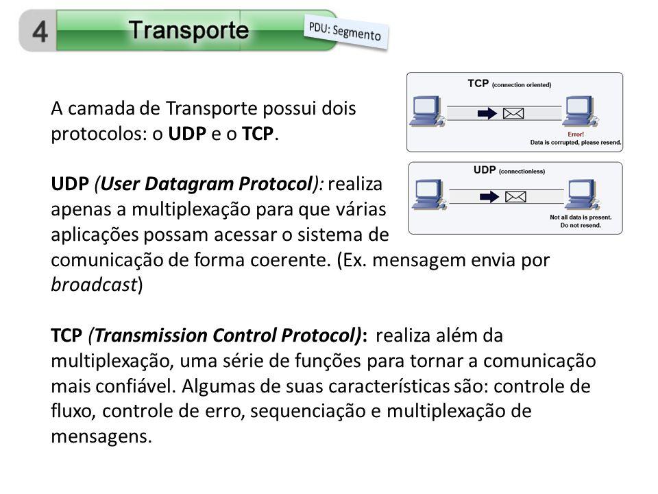 A camada de Transporte possui dois protocolos: o UDP e o TCP. UDP (User Datagram Protocol): realiza apenas a multiplexação para que várias aplicações