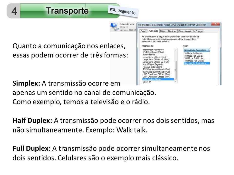 Quanto a comunicação nos enlaces, essas podem ocorrer de três formas: Simplex: A transmissão ocorre em apenas um sentido no canal de comunicação. Como
