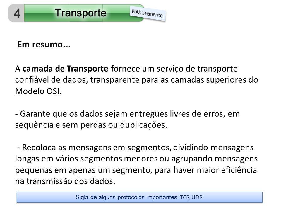 A camada de Transporte fornece um serviço de transporte confiável de dados, transparente para as camadas superiores do Modelo OSI. - Garante que os da