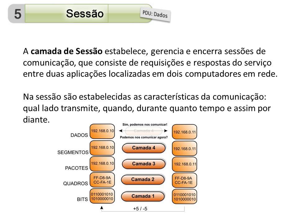 A camada de Sessão estabelece, gerencia e encerra sessões de comunicação, que consiste de requisições e respostas do serviço entre duas aplicações loc