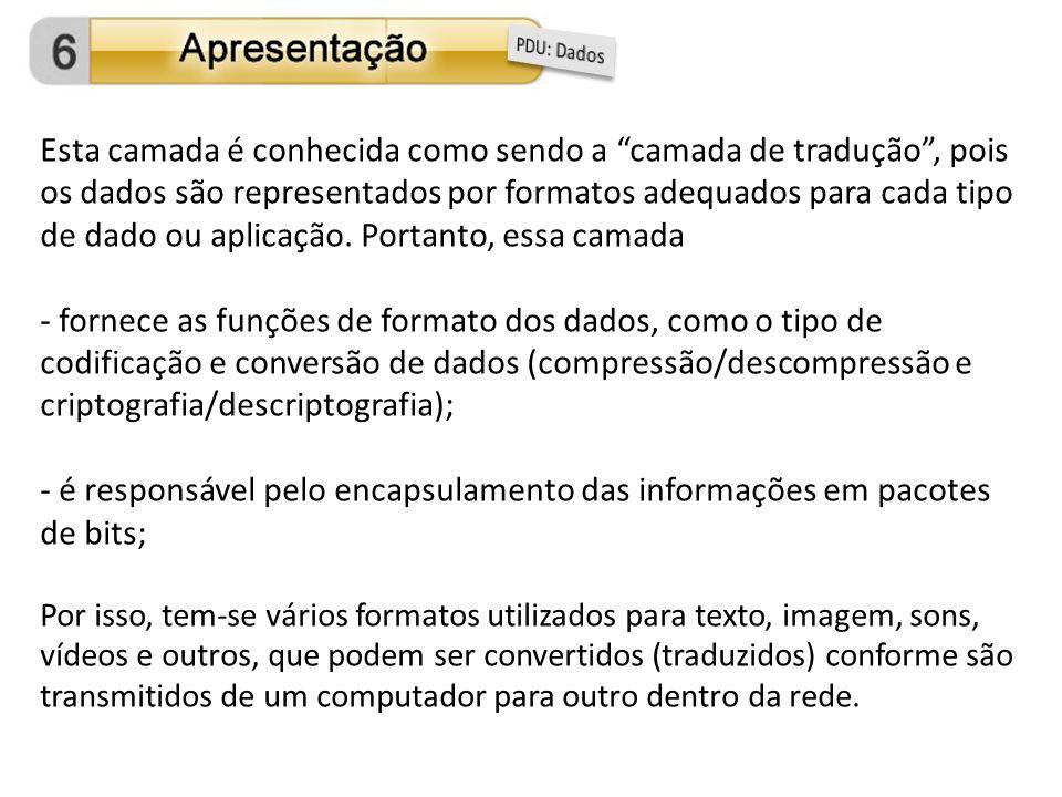 Esta camada é conhecida como sendo a camada de tradução, pois os dados são representados por formatos adequados para cada tipo de dado ou aplicação. P