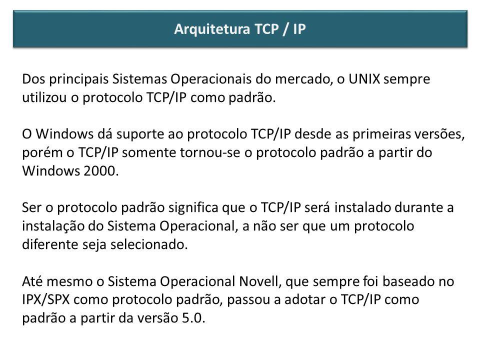 Dos principais Sistemas Operacionais do mercado, o UNIX sempre utilizou o protocolo TCP/IP como padrão. O Windows dá suporte ao protocolo TCP/IP desde