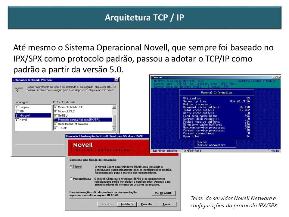 Até mesmo o Sistema Operacional Novell, que sempre foi baseado no IPX/SPX como protocolo padrão, passou a adotar o TCP/IP como padrão a partir da vers