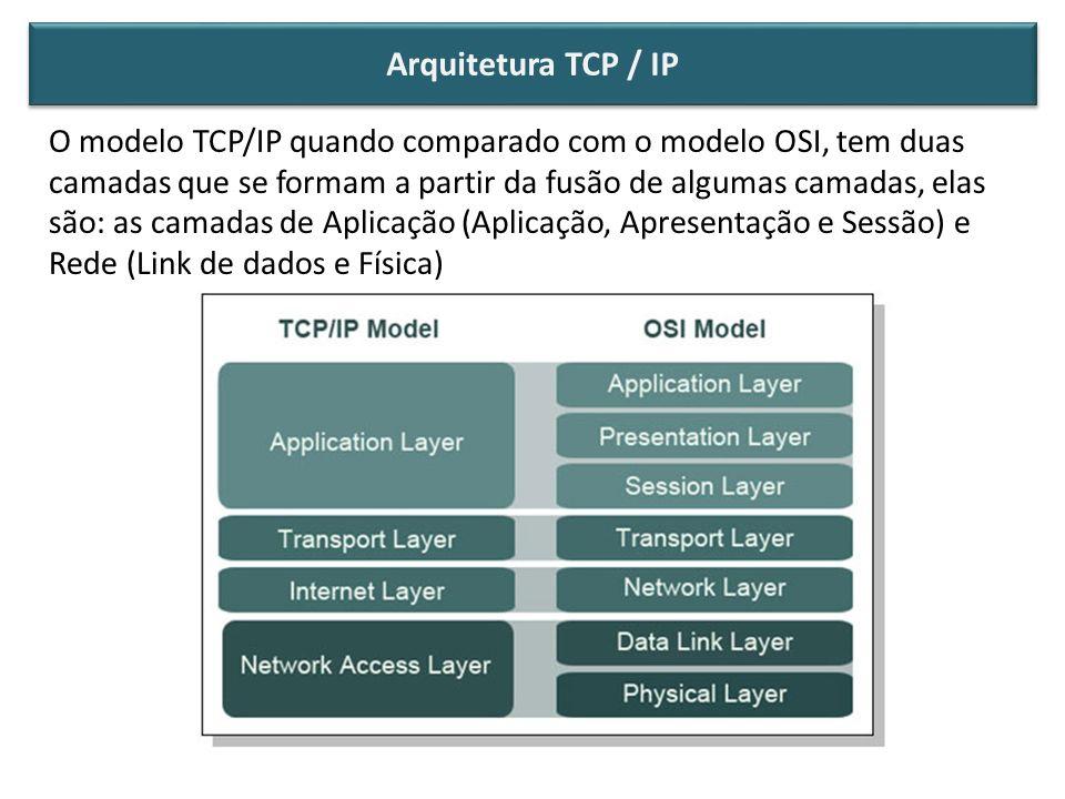 O modelo TCP/IP quando comparado com o modelo OSI, tem duas camadas que se formam a partir da fusão de algumas camadas, elas são: as camadas de Aplica
