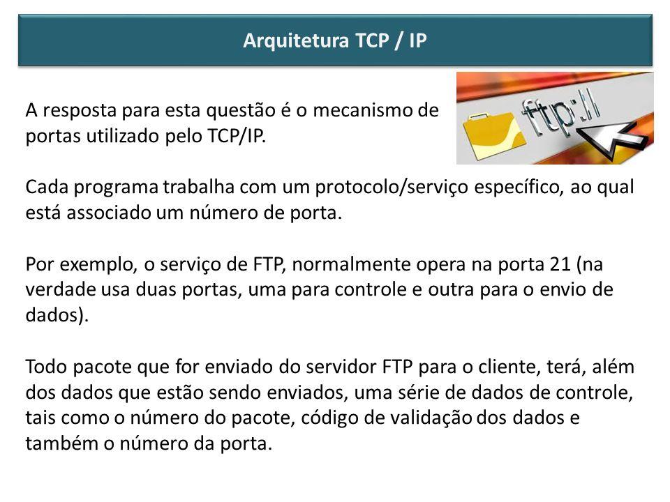 A resposta para esta questão é o mecanismo de portas utilizado pelo TCP/IP. Cada programa trabalha com um protocolo/serviço específico, ao qual está a