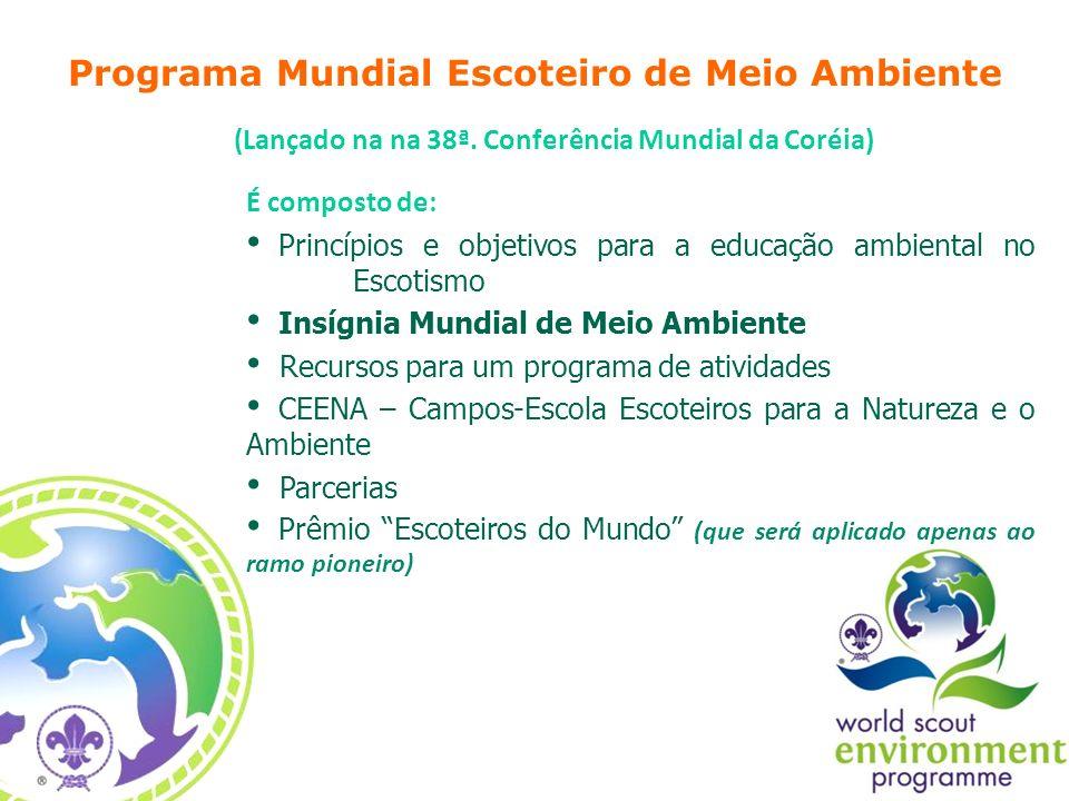 É composto de: Princípios e objetivos para a educação ambiental no Escotismo Insígnia Mundial de Meio Ambiente Recursos para um programa de atividades