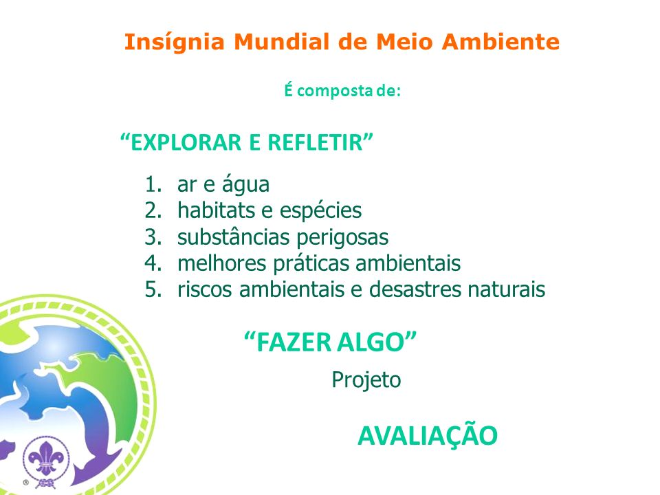 1.ar e água 2.habitats e espécies 3.substâncias perigosas 4.melhores práticas ambientais 5.riscos ambientais e desastres naturais Insígnia Mundial de