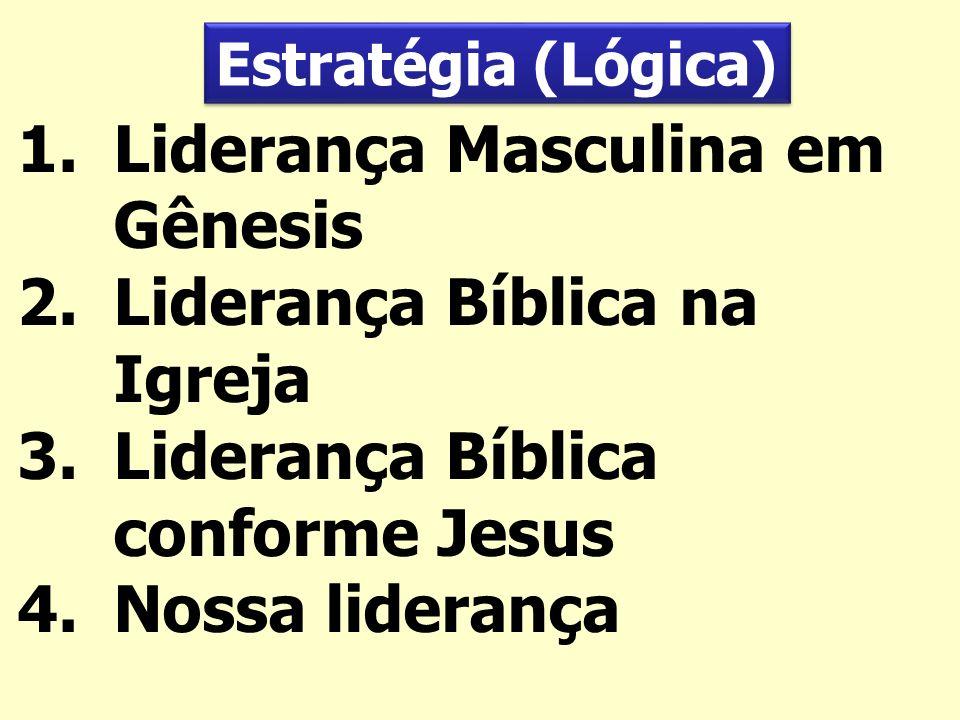 1.Liderança Masculina em Gênesis 2.Liderança Bíblica na Igreja 3.Liderança Bíblica conforme Jesus 4.Nossa liderança Estratégia (Lógica)