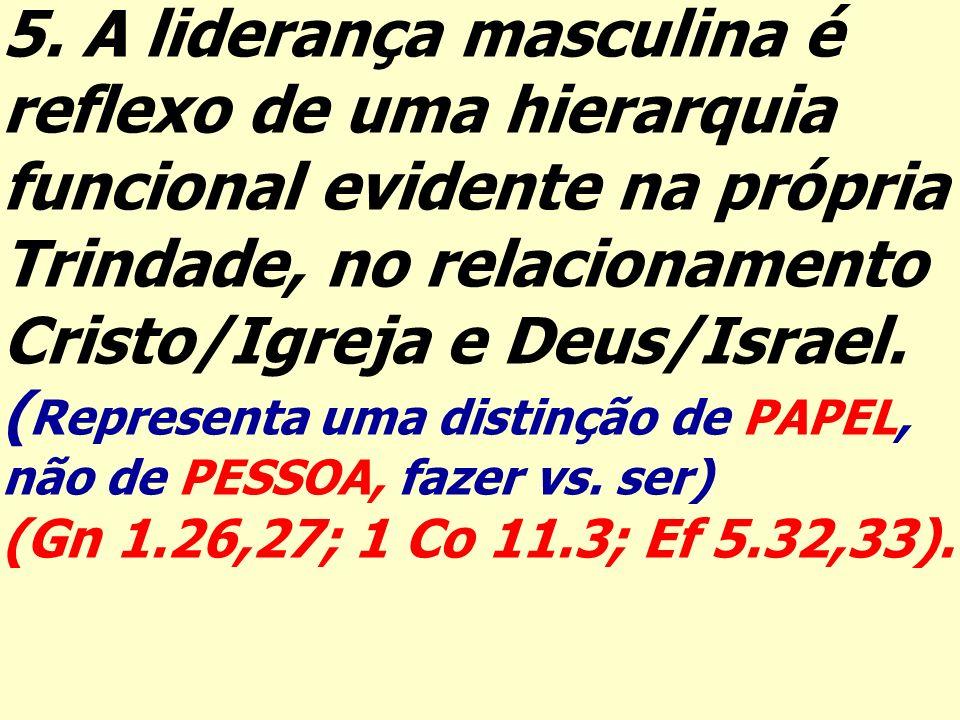 5. A liderança masculina é reflexo de uma hierarquia funcional evidente na própria Trindade, no relacionamento Cristo/Igreja e Deus/Israel. ( Represen