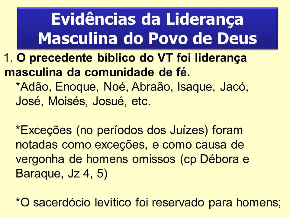Evidências da Liderança Masculina do Povo de Deus 1. O precedente bíblico do VT foi liderança masculina da comunidade de fé. *Adão, Enoque, Noé, Abraã