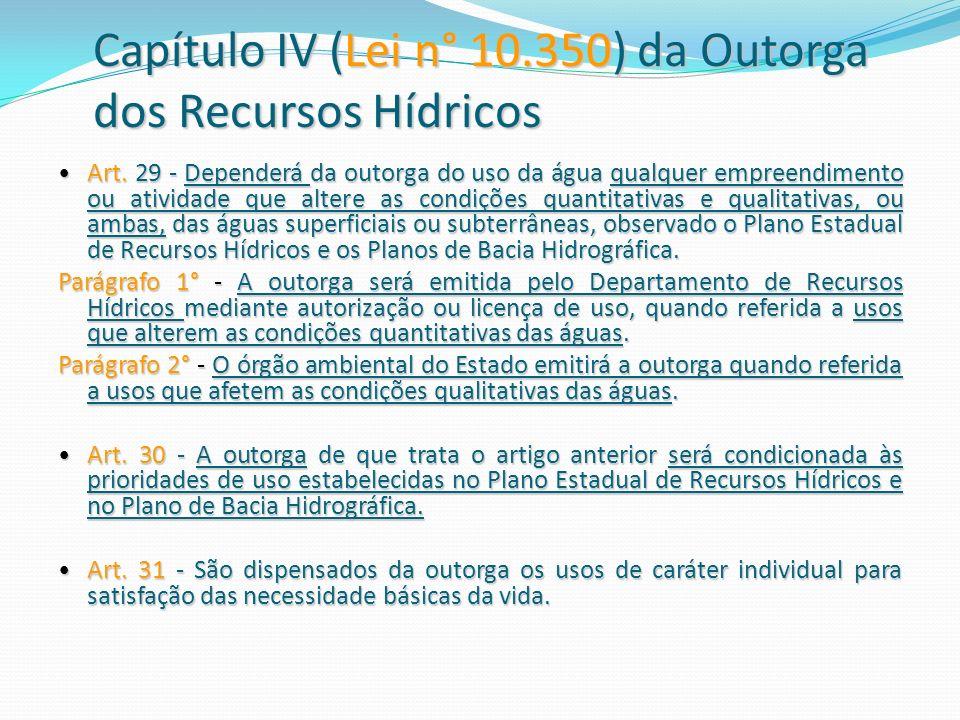 Capítulo IV (Lei n° 10.350) da Outorga dos Recursos Hídricos Art. 29 - Dependerá da outorga do uso da água qualquer empreendimento ou atividade que al