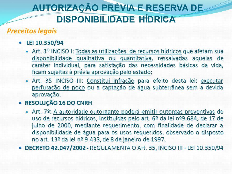 LEI 10.350/94 LEI 10.350/94 Art. 3 O INCISO I: Todas as utilizações de recursos hídricos que afetam sua disponibilidade qualitativa ou quantitativa, r