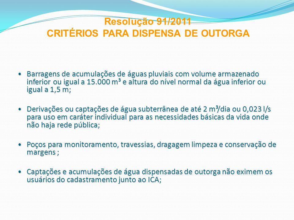 Barragens de acumulações de águas pluviais com volume armazenado inferior ou igual a 15.000 m³ e altura do nível normal da água inferior ou igual a 1,