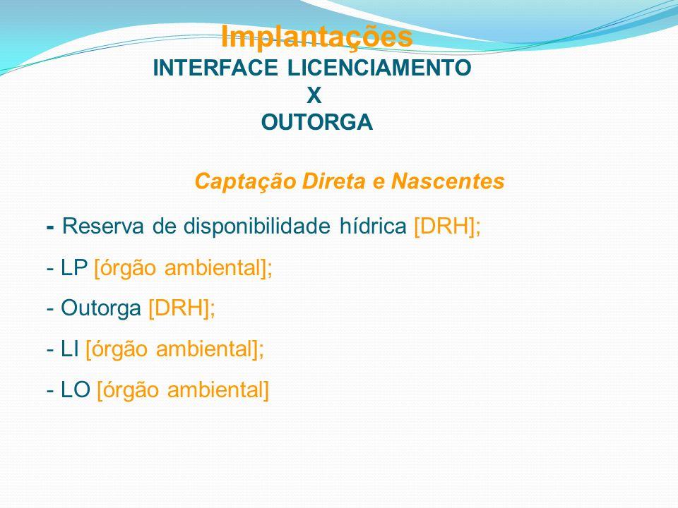 Implantações INTERFACE LICENCIAMENTO X OUTORGA Captação Direta e Nascentes - Reserva de disponibilidade hídrica [DRH]; - LP [órgão ambiental]; - Outor