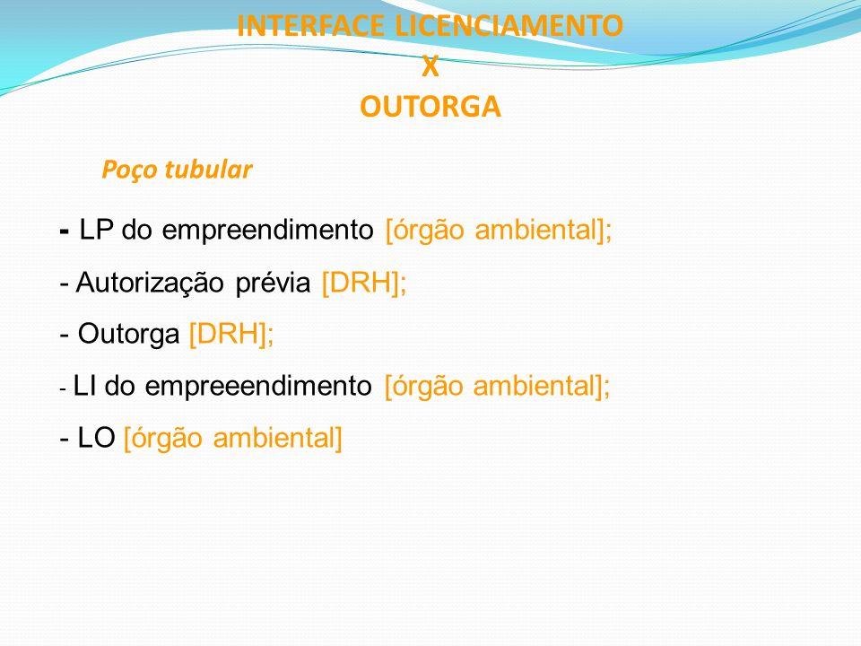 INTERFACE LICENCIAMENTO X OUTORGA Poço tubular - LP do empreendimento [órgão ambiental]; - Autorização prévia [DRH]; - Outorga [DRH]; - LI do empreeen