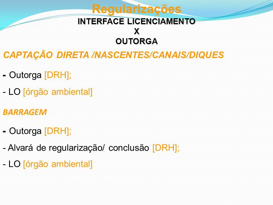 Regularizações INTERFACE LICENCIAMENTO XOUTORGA CAPTAÇÃO DIRETA /NASCENTES/CANAIS/DIQUES - Outorga [DRH]; - LO [órgão ambiental] BARRAGEM - Outorga [D