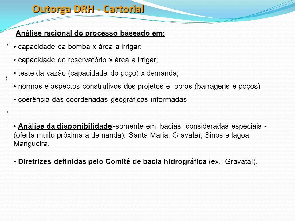 Outorga DRH - Cartorial Análise racional do processo baseado em: capacidade da bomba x área a irrigar; capacidade do reservatório x área a irrigar; te