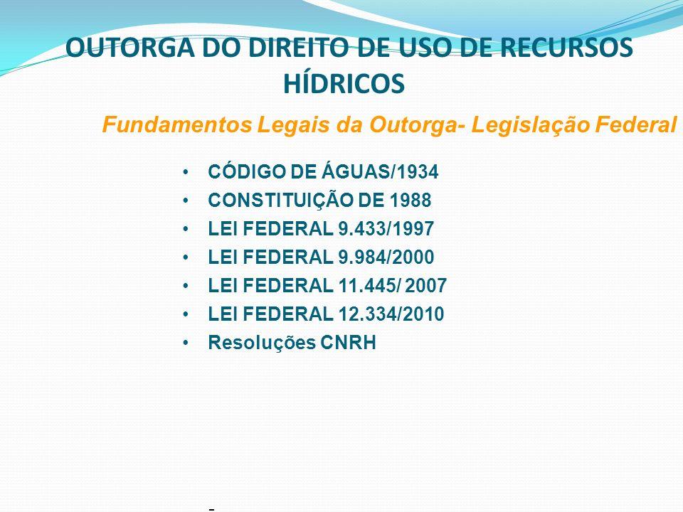OUTORGA DO DIREITO DE USO DA ÁGUA Fundamentos Legais da Outorga- Legislação Estadual CONSTITUIÇÃO ESTADUAL DE 1989 CONSTITUIÇÃO ESTADUAL DE 1989 Institui o Sistema Estadual de Recursos Hídricos (art.