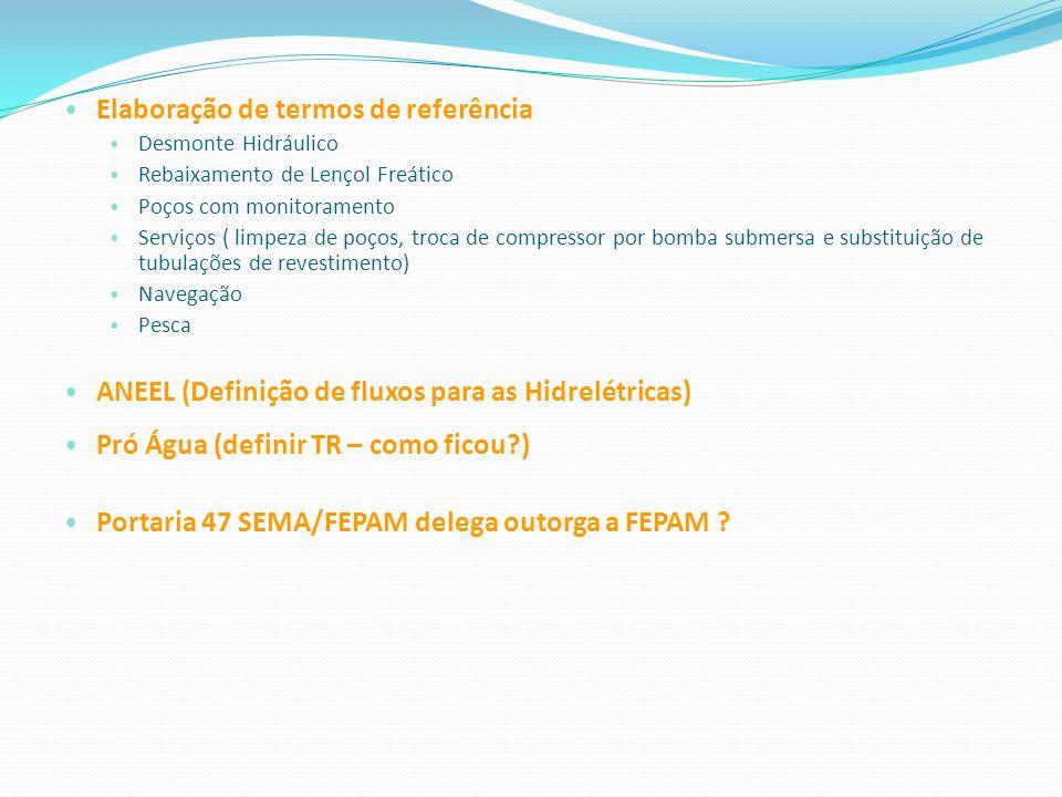 Elaboração de termos de referência Desmonte Hidráulico Rebaixamento de Lençol Freático Poços com monitoramento Serviços ( limpeza de poços, troca de c