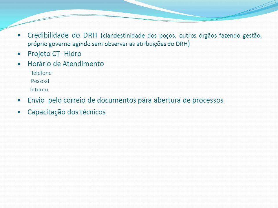 Credibilidade do DRH ( clandestinidade dos poços, outros órgãos fazendo gestão, próprio governo agindo sem observar as atribuições do DRH ) Projeto CT