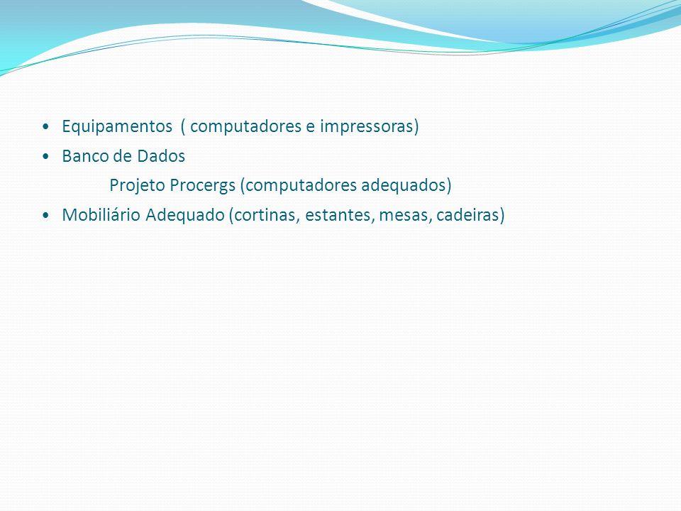 Equipamentos ( computadores e impressoras) Banco de Dados Projeto Procergs (computadores adequados) Mobiliário Adequado (cortinas, estantes, mesas, ca