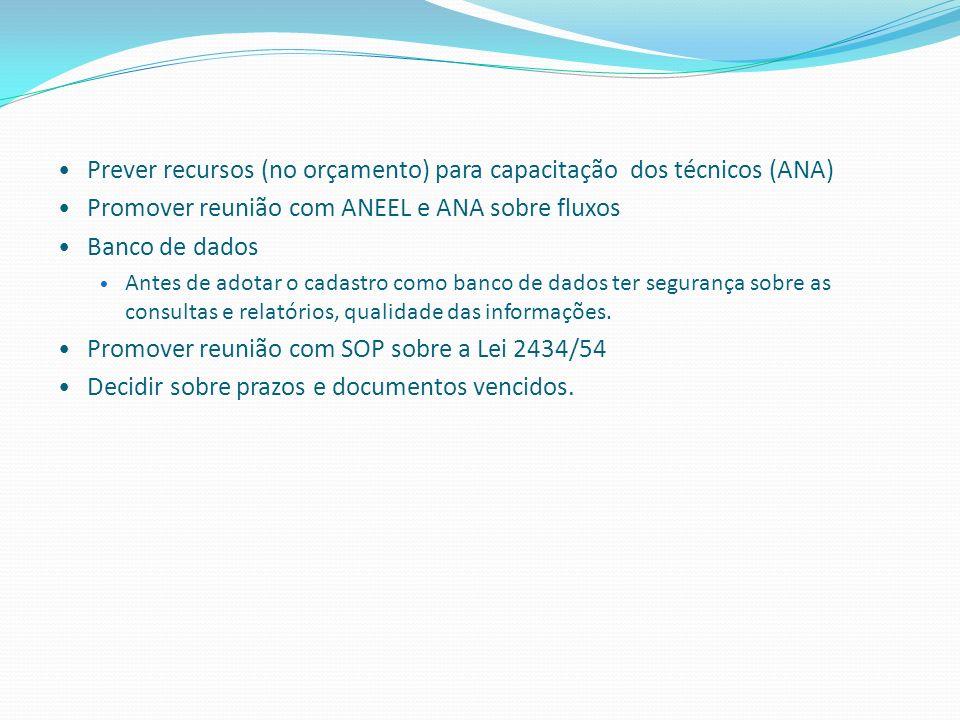 Prever recursos (no orçamento) para capacitação dos técnicos (ANA) Promover reunião com ANEEL e ANA sobre fluxos Banco de dados Antes de adotar o cada