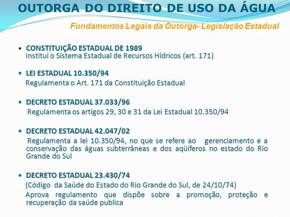 OUTORGA DO DIREITO DE USO DA ÁGUA Fundamentos Legais da Outorga- Legislação Estadual CONSTITUIÇÃO ESTADUAL DE 1989 CONSTITUIÇÃO ESTADUAL DE 1989 Insti