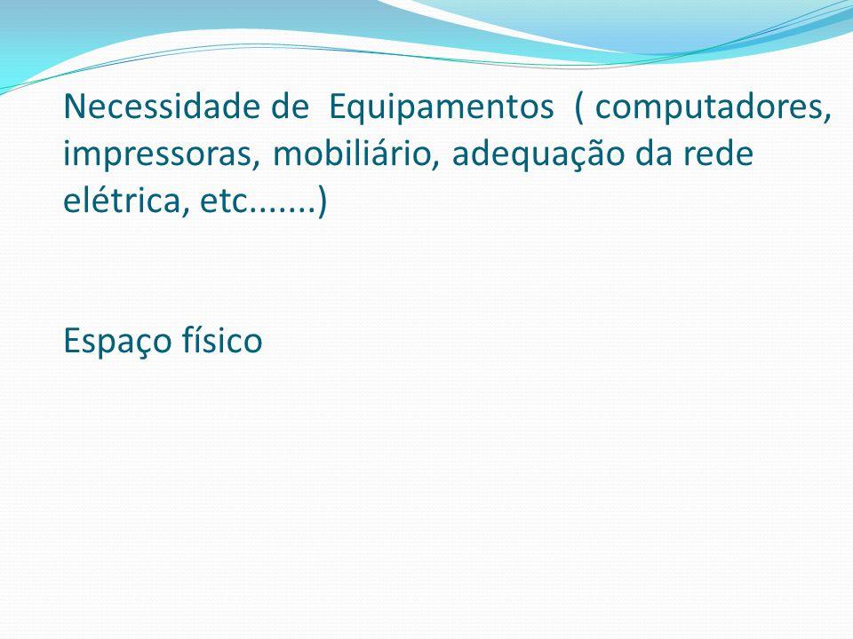 Necessidade de Equipamentos ( computadores, impressoras, mobiliário, adequação da rede elétrica, etc.......) Espaço físico