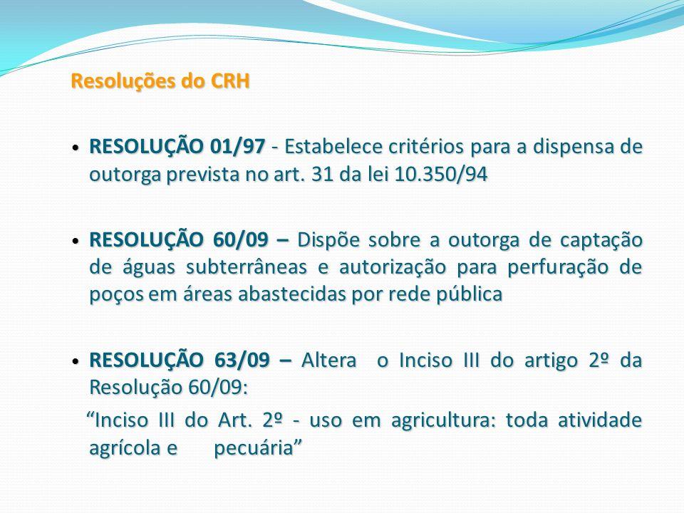 Resoluções do CRH RESOLUÇÃO 01/97 - Estabelece critérios para a dispensa de outorga prevista no art. 31 da lei 10.350/94 RESOLUÇÃO 01/97 - Estabelece