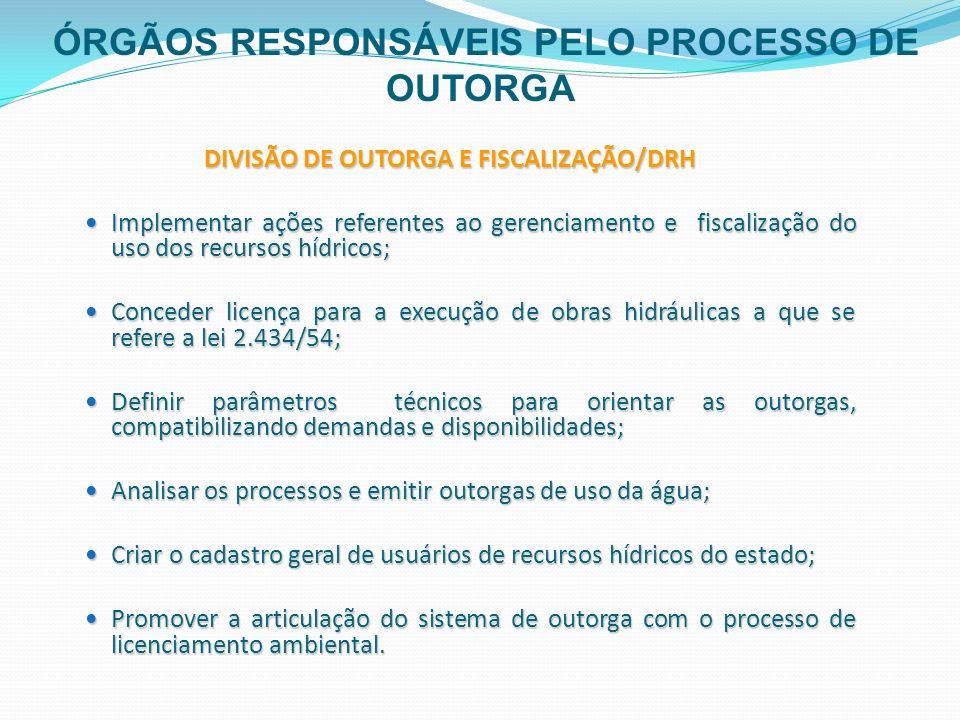 DIVISÃO DE OUTORGA E FISCALIZAÇÃO/DRH Implementar ações referentes ao gerenciamento e fiscalização do uso dos recursos hídricos; Implementar ações ref