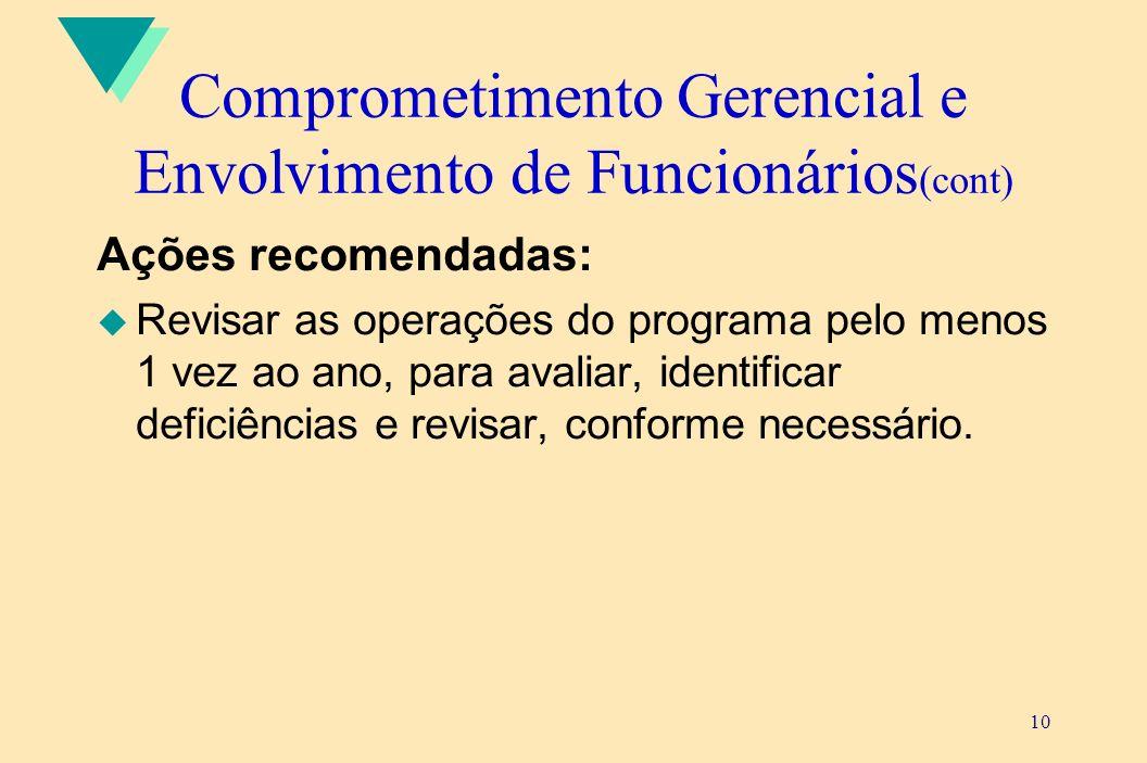10 Comprometimento Gerencial e Envolvimento de Funcionários (cont) Ações recomendadas: u Revisar as operações do programa pelo menos 1 vez ao ano, par