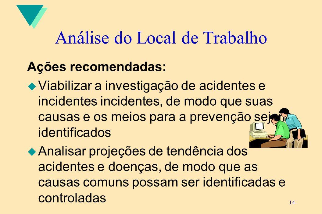 14 Análise do Local de Trabalho Ações recomendadas: u Viabilizar a investigação de acidentes e incidentes incidentes, de modo que suas causas e os mei