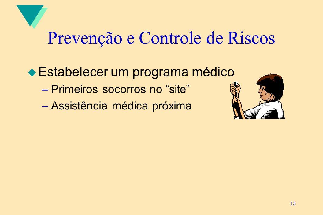 18 Prevenção e Controle de Riscos u Estabelecer um programa médico –Primeiros socorros no site –Assistência médica próxima