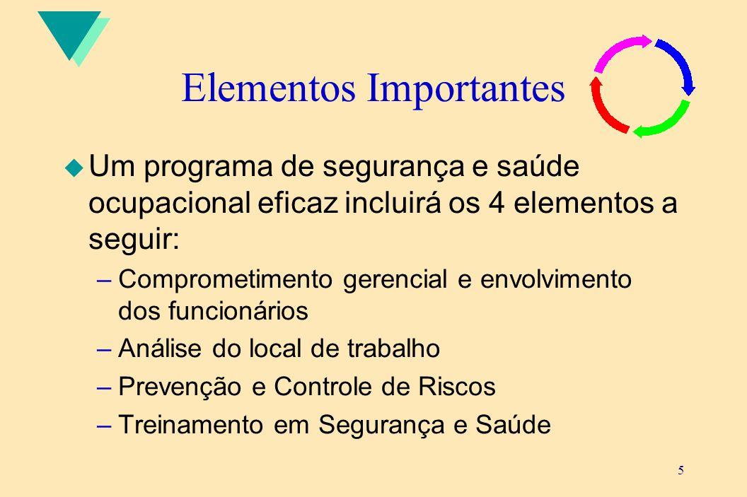 5 Elementos Importantes u Um programa de segurança e saúde ocupacional eficaz incluirá os 4 elementos a seguir: –Comprometimento gerencial e envolvime