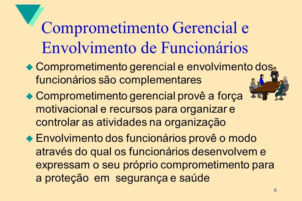 6 Comprometimento Gerencial e Envolvimento de Funcionários u Comprometimento gerencial e envolvimento dos funcionários são complementares u Comprometi