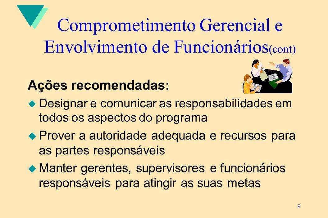 9 Comprometimento Gerencial e Envolvimento de Funcionários (cont) Ações recomendadas: u Designar e comunicar as responsabilidades em todos os aspectos