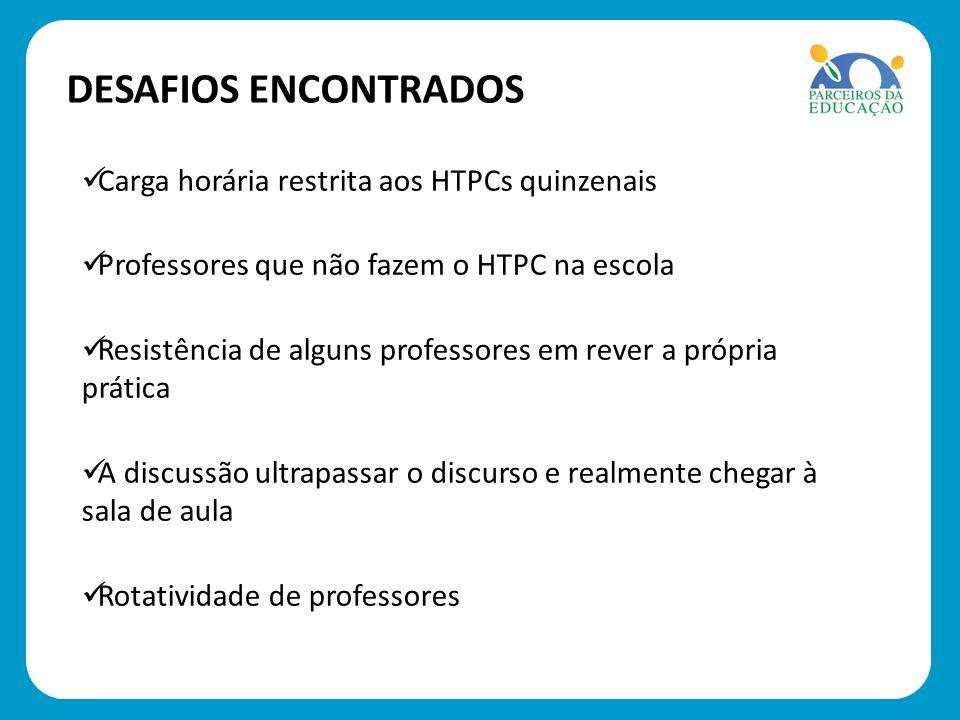Carga horária restrita aos HTPCs quinzenais Professores que não fazem o HTPC na escola Resistência de alguns professores em rever a própria prática A