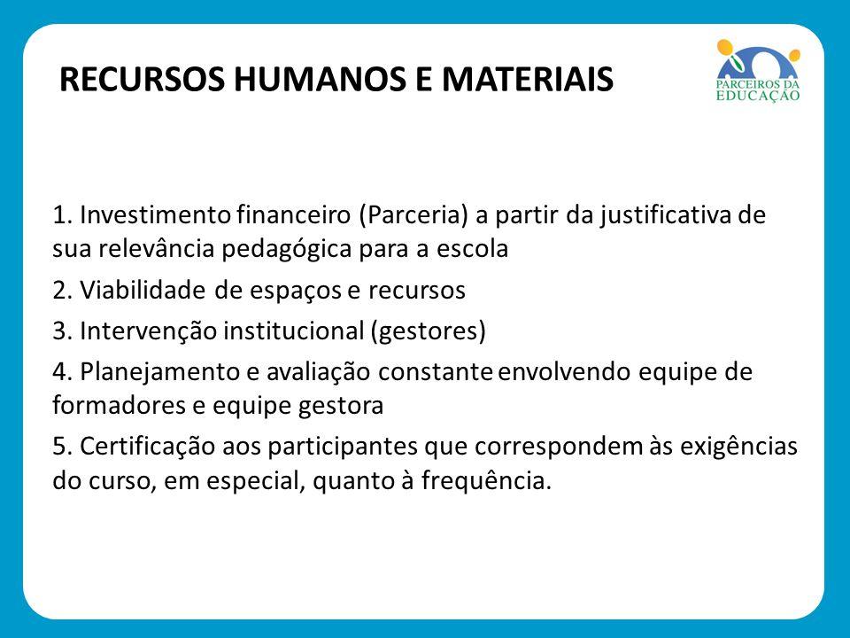 1. Investimento financeiro (Parceria) a partir da justificativa de sua relevância pedagógica para a escola 2. Viabilidade de espaços e recursos 3. Int