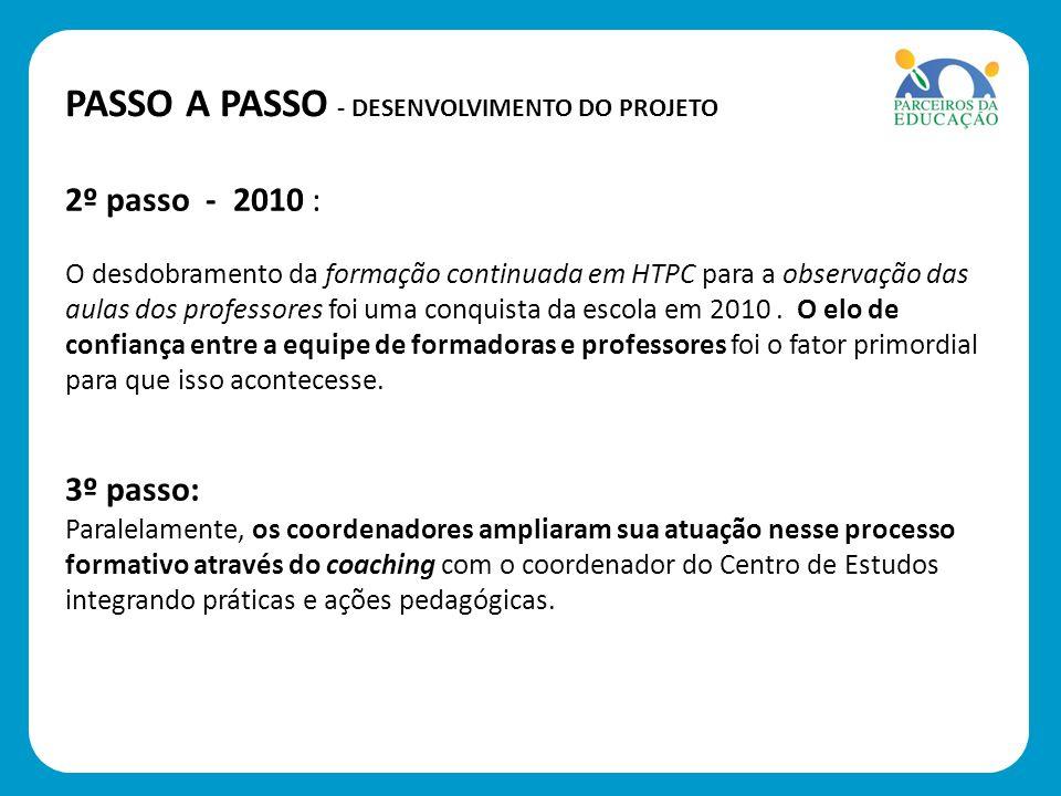 2º passo - 2010 : O desdobramento da formação continuada em HTPC para a observação das aulas dos professores foi uma conquista da escola em 2010. O el