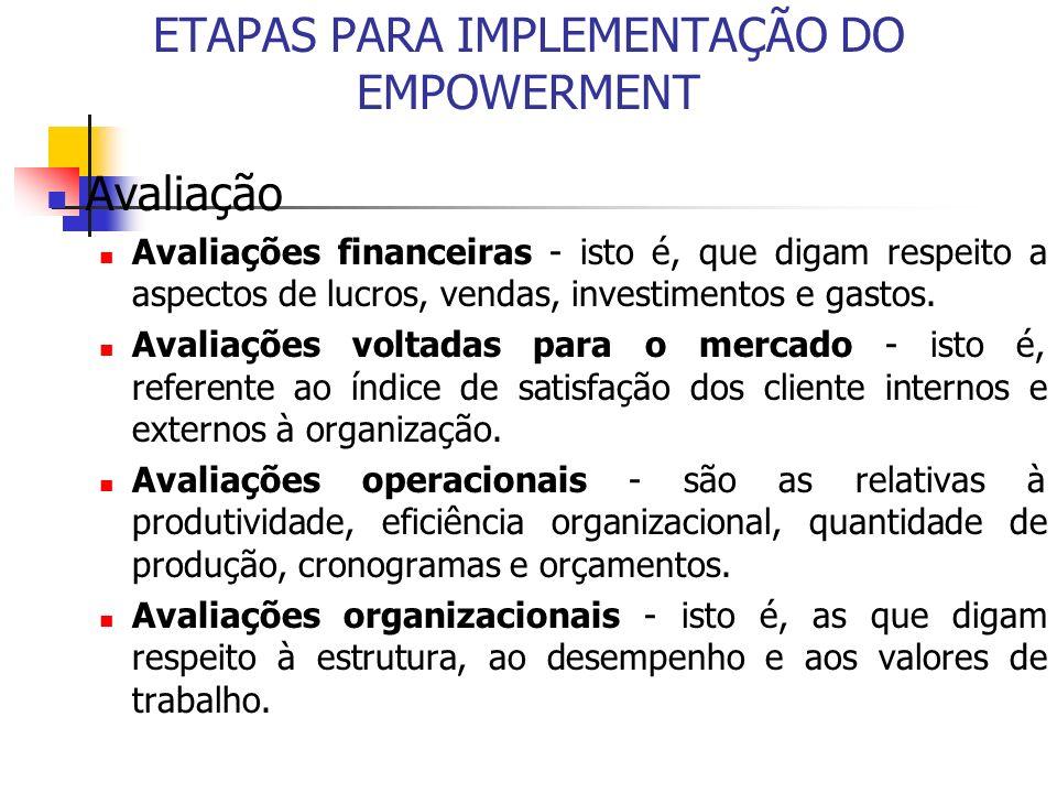 ETAPAS PARA IMPLEMENTAÇÃO DO EMPOWERMENT Avaliação Avaliações financeiras - isto é, que digam respeito a aspectos de lucros, vendas, investimentos e g