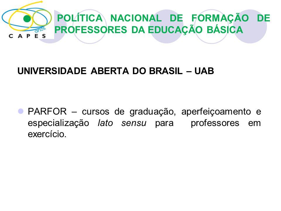 UNIVERSIDADE ABERTA DO BRASIL – UAB PARFOR – cursos de graduação, aperfeiçoamento e especialização lato sensu para professores em exercício. POLÍTICA