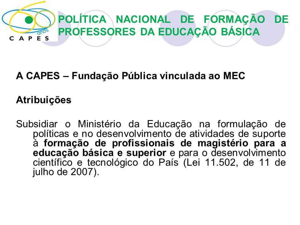 POLÍTICA NACIONAL DE FORMAÇÃO DE PROFESSORES DA EDUCAÇÃO BÁSICA A CAPES – Fundação Pública vinculada ao MEC Atribuições Subsidiar o Ministério da Educ