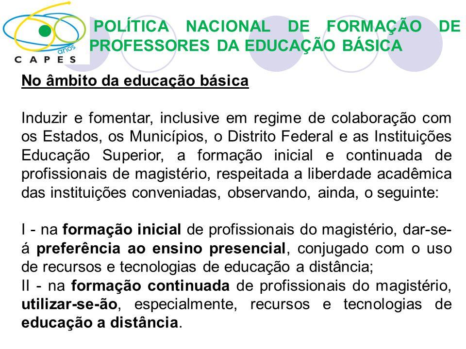 POLÍTICA NACIONAL DE FORMAÇÃO DE PROFESSORES DA EDUCAÇÃO BÁSICA No âmbito da educação básica Induzir e fomentar, inclusive em regime de colaboração co