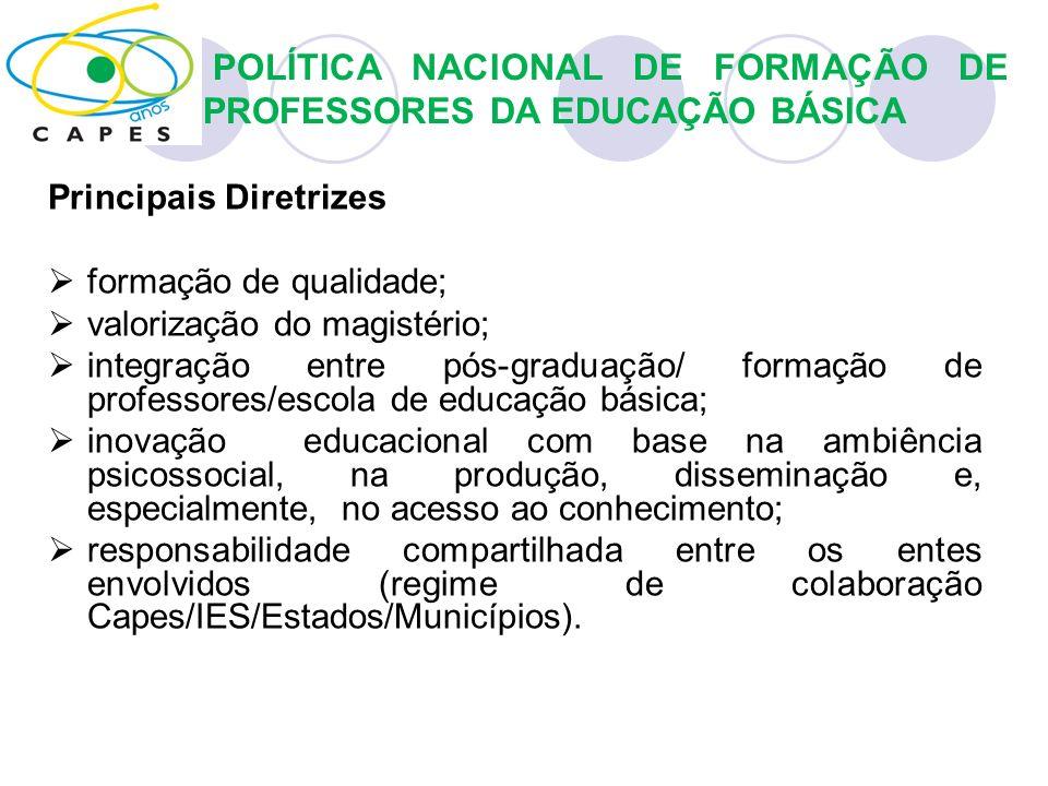 Principais Diretrizes formação de qualidade; valorização do magistério; integração entre pós-graduação/ formação de professores/escola de educação bás