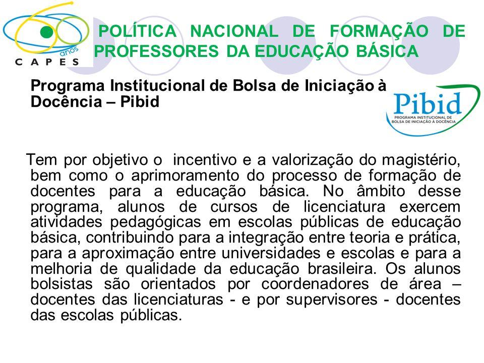 Programa Institucional de Bolsa de Iniciação à Docência – Pibid Tem por objetivo o incentivo e a valorização do magistério, bem como o aprimoramento d