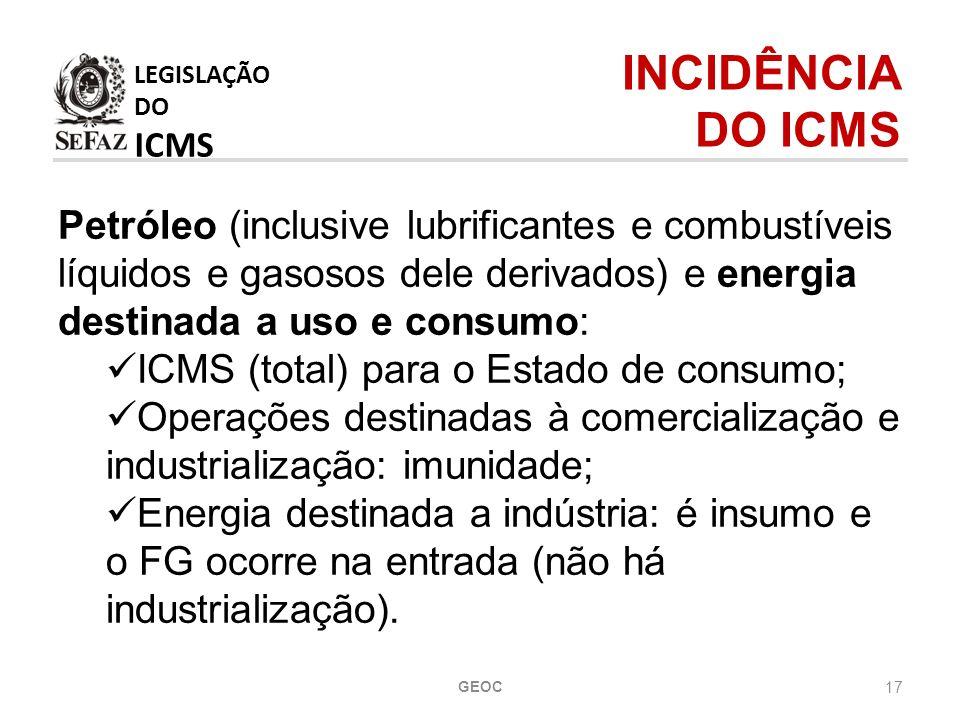 17 Petróleo (inclusive lubrificantes e combustíveis líquidos e gasosos dele derivados) e energia destinada a uso e consumo: ICMS (total) para o Estado