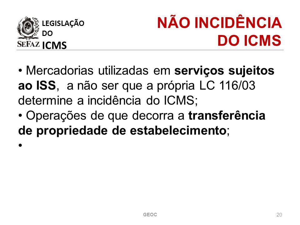 20 Mercadorias utilizadas em serviços sujeitos ao ISS, a não ser que a própria LC 116/03 determine a incidência do ICMS; Operações de que decorra a transferência de propriedade de estabelecimento; LEGISLAÇÃO DO ICMS NÃO INCIDÊNCIA DO ICMS GEOC